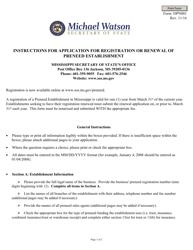 """Form 10PN001 """"Application for Registration or Renewal of Preneed Establishment"""" - Mississippi"""