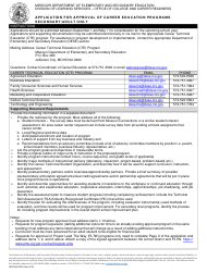 "Form MO500-2457 ""Application for Approval of Career Education Programs Secondary/Adult Only"" - Missouri"