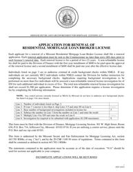 """Application for Renewal of Residential Mortgage Loan Broker License"" - Missouri"