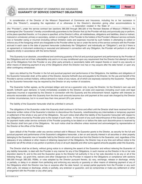 Form SC-4 (MO375-0593)  Printable Pdf