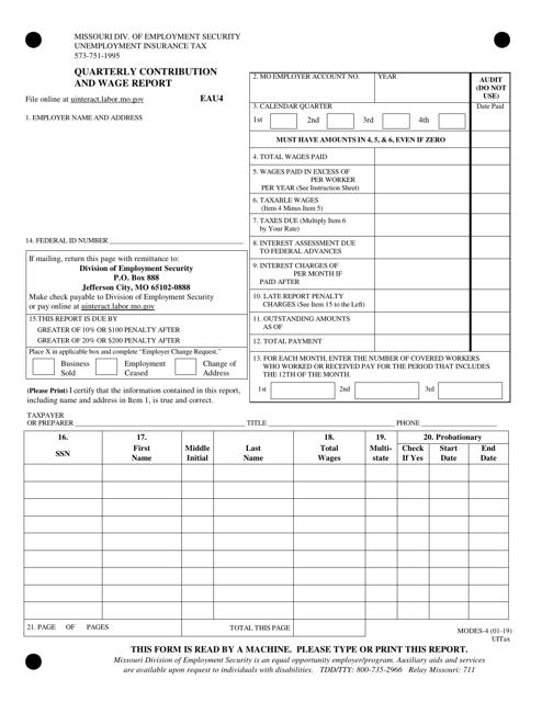 Form MODES-4  Printable Pdf