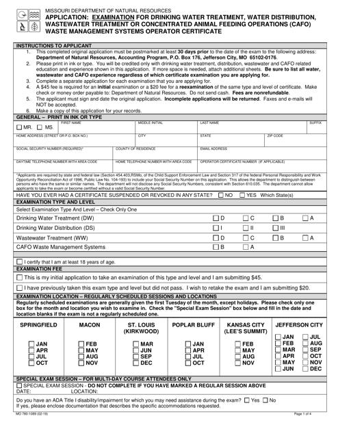 Form MO780-1089 Printable Pdf