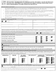 """Form MO780-1089 """"Application: Examination for Drinking Water Treatment, Water Distribution, Wastewater Treatment or Concentrated Animal Feeding Operations (Cafo) Waste Management Systems Operator Certificate"""" - Missouri"""
