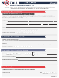 """Telemarketing No-Call Complaint Form"" - Missouri"