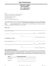 "Form BP-L ""Proposal Form Long"" - Montana"