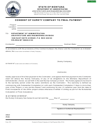 "Form 103 ""Consent of Surety to Final Payment"" - Montana"