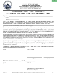 "Form 106 ""Contractor's Affidavit of Completion, Payment of Debts and Claims, and Release of Liens"" - Montana"