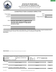 "Form 109 ""Construction Change Directive"" - Montana"