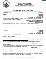 "Form 110 ""Standard Form of Contract Between Owner and Contractor for Construction"" - Montana"