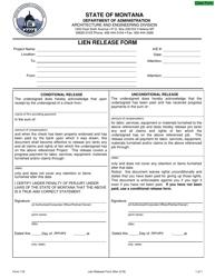 "Form 116 ""Lien Release Form"" - Montana"