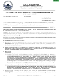 "Form 120 ""Agreement for Deposit of Obligations Other Than Retainage"" - Montana"