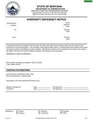 "Form 121 ""Warranty Defect Notice"" - Montana"