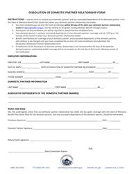 """Dissolution of Domestic Partner Relationship Form"" - Montana"