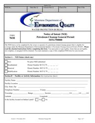 "Form NOI ""Notice of Intent (Noi) Petroleum Cleanup General Permit"" - Montana"