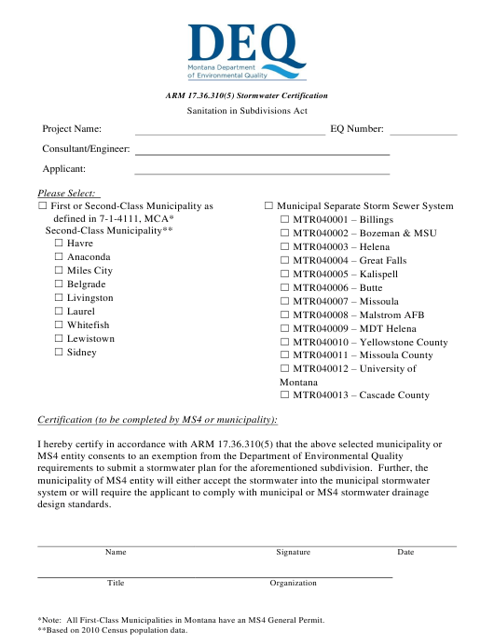 pdf stormwater certification montana arm templateroller fill