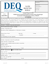 "Form AR-SWI ""Annual Report Form - Multi-Sector General Permit for Storm Water Discharges Associated With Industrial Activity (Msgp) Mtr000000"" - Montana"
