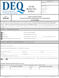 """Form NOI-49 """"Notice of Intent (Noi) General Permit for Sand and Gravel Operations"""" - Montana"""
