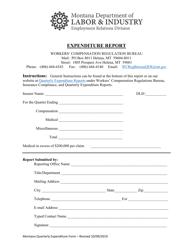 """""""Quarterly Expenditure Report Form"""" - Montana"""