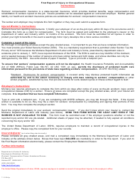 """Instructions for Form ERD-991 """"First Report of Injury or Occupational Disease"""" - Montana"""