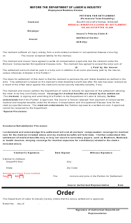 """""""Petition for Settlement - Ptd, Injury/Od Medical Closed on an Accepted Claim"""" - Montana"""