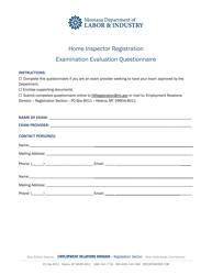 """Home Inspector Examination Evaluation Questionnaire"" - Montana"