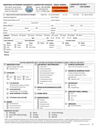 "Form SV43 ""Montana Veterinary Diagnostic Request - Single Animal"" - Montana"