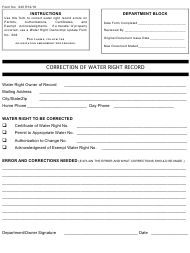 """Form 625 """"Correction of Water Right Record"""" - Montana"""