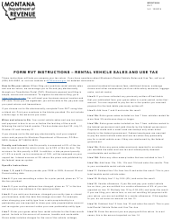"Form RVT ""Rental Vehicle Sales and Use Tax Return"" - Montana"
