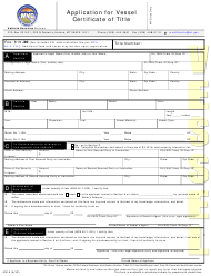 "Form MV1A ""Application for Vessel Certificate of Title"" - Montana"