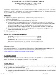 """""""Application for Certificate to Transact Business as a Utilization Review Agent"""" - Nebraska"""