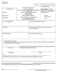 "UI Form 10(E) ""Election to Make Annual Payments of Contributions Under the Nebraska Administrative Code"" - Nebraska"