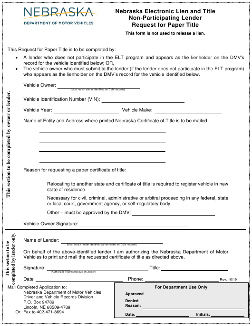 """Nebraska Electronic Lien and Title Non-participating Lender Request for Paper Title"" - Nebraska Download Pdf"