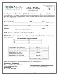 """""""Application for Boat Dealer Trailer License Plates"""" - Nebraska"""