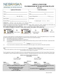 """""""Application for Ex-prisoner of War License Plate"""" - Nebraska"""