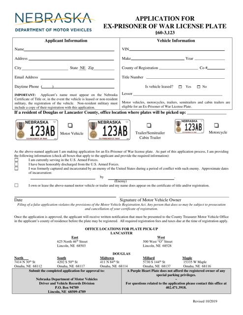 """""""Application for Ex-prisoner of War License Plate"""" - Nebraska Download Pdf"""