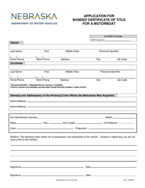 """""""Application for Bonded Certificate of Title for a Motorboat"""" - Nebraska Download Pdf"""