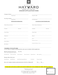 """Vendor Application Form"" - City of Hayward, California"