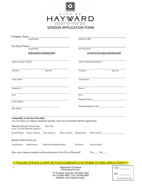 """Vendor Application Form"" - City of Hayward, California Download Pdf"