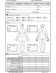 DD Form 1380 Tactical Combat Casualty Care (tccc) Card