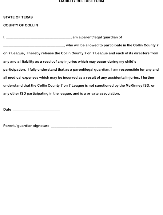 """""""Liability Release Form"""" - County of Collin, Texas Download Pdf"""