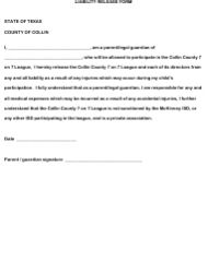 Liability Release Form - County of Collin, Texas
