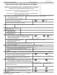 """Form SSA-8 """"Application for Lump-Sum Death Payment"""""""