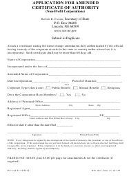 """Application for Amended Certificate of Authority (Non-profit Corporations)"" - Nebraska"