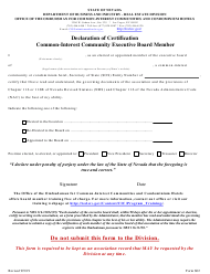 "Form 602 ""Declaration of Certification Common-Interest Community Board Member"" - Nevada"