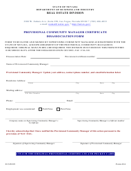 "Form 634 ""Provisional Community Manager Certificate Disassociation Form"" - Nevada"