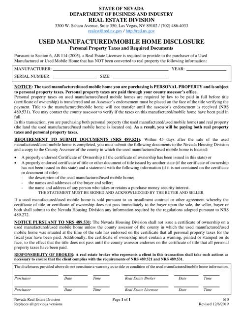 Form 610  Printable Pdf