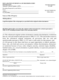 "Form 655 ""Declaration of Removal of Discriminatory Restriction"" - Nevada"