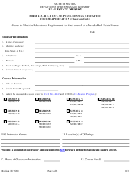 "Form 613 ""Real Estate Post Licensing Education Application for Classroom Offerings"" - Nevada"