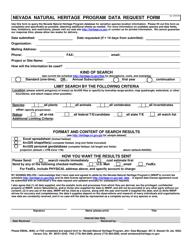 """Nevada Natural Heritage Program Data Request Form"" - Nevada"