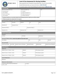 "Form FA-19 ""Level of Care Assessment for Nursing Facilities"" - Nevada"